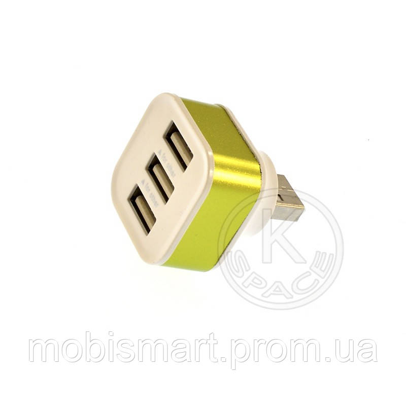 HUB 1USB to 3USB green