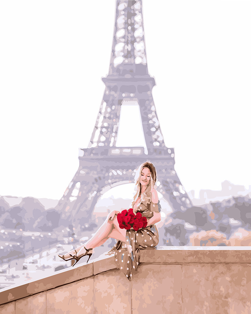 Картина по номерам Розы на фоне парижа, 40x50 см., Brushme