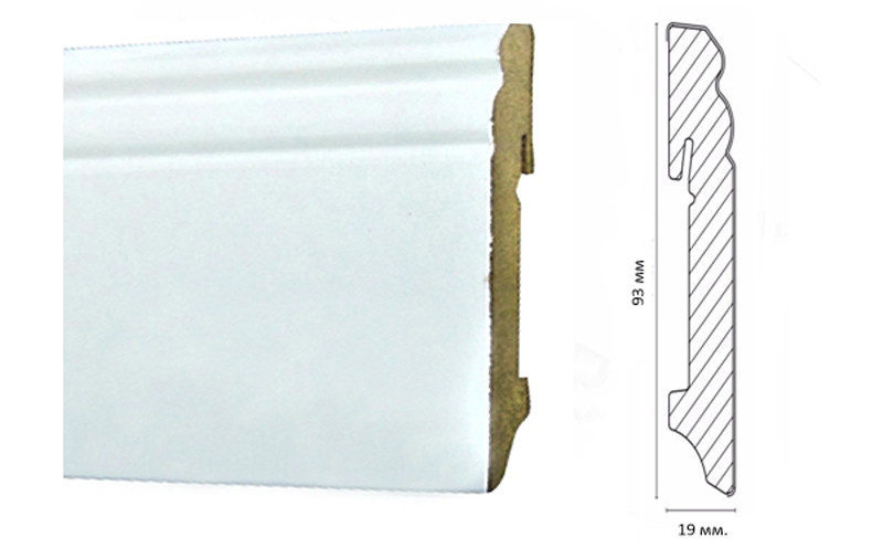 Плинтус для пола МДФPAINT-ON  белый 93 мм. Neuhofer Holz