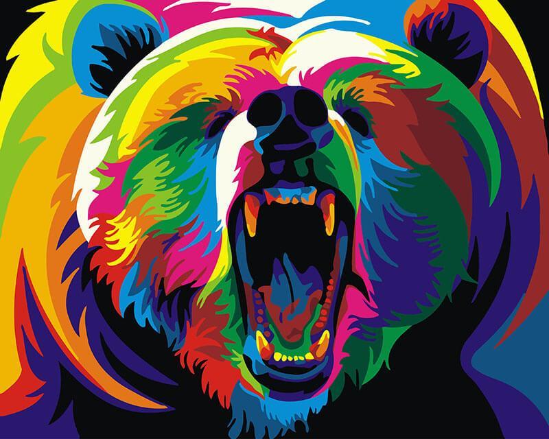 Картина по номерам Радужный медведь, 40x50 см., Brushme