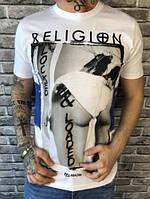 Молодежная Мужская Футболка True Religion белая Турция Качество Модная Тру Релиджн реплика