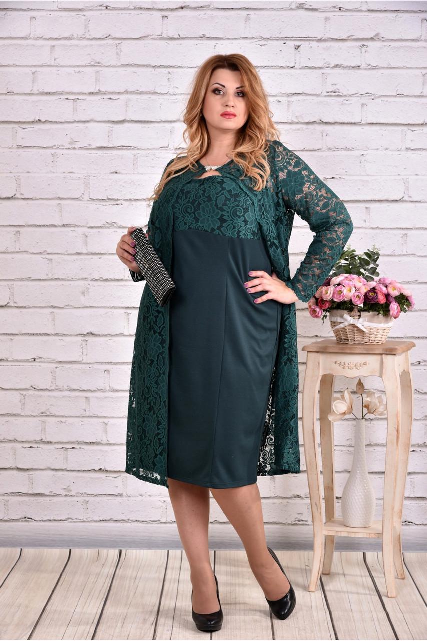 зеленый костюм двойка: платье и накидка большой роазмер | 0613-2