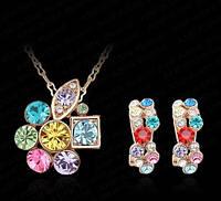 Позолоченный набор украшений с цветными цирконами код 864