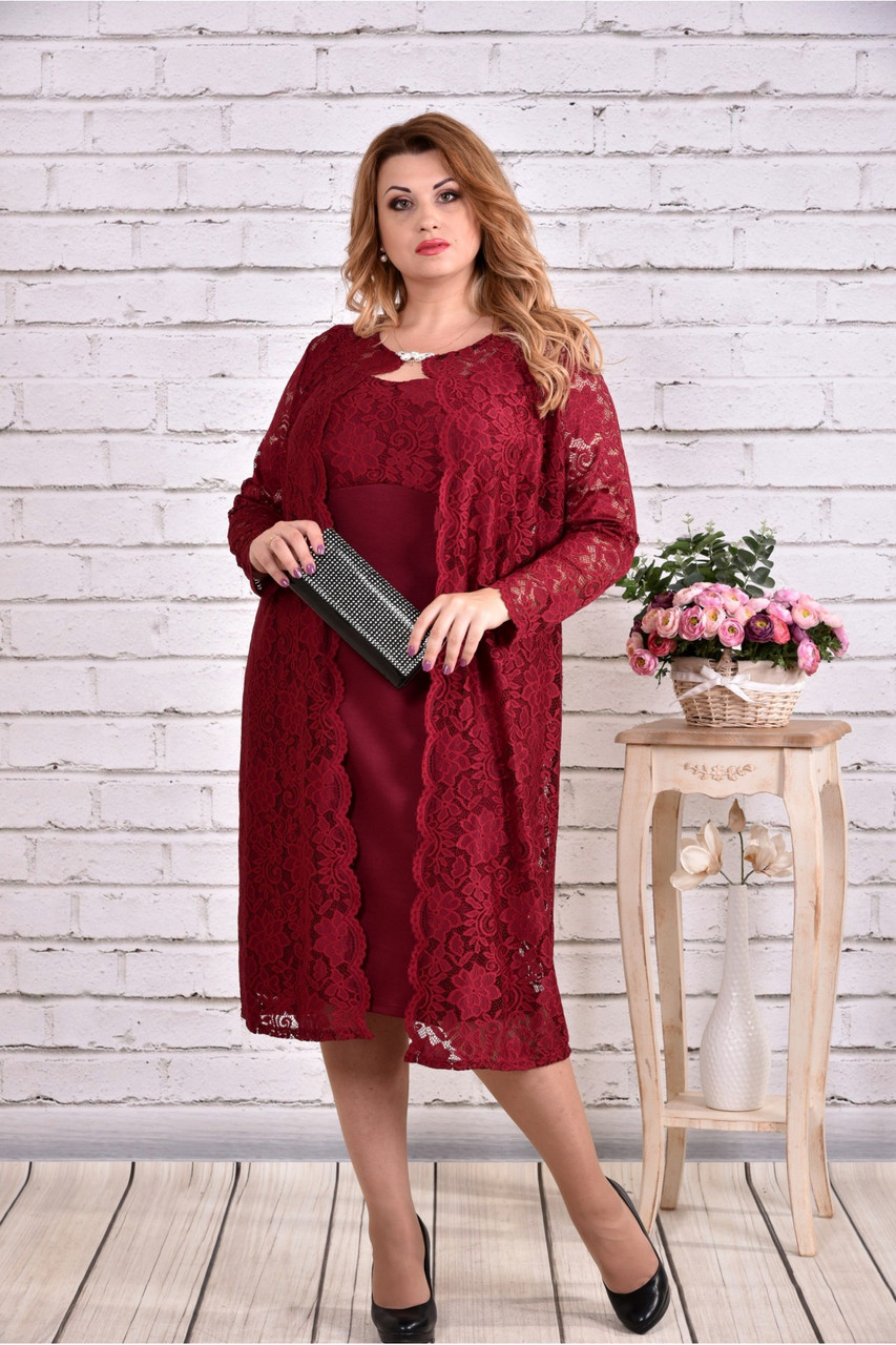 бордовый костюм двойка: платье и накидка   0613-3 батал
