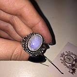 Кольцо лунный камень адуляр в серебре кольцо с лунным камнем 18,5-19 размер Индия, фото 5