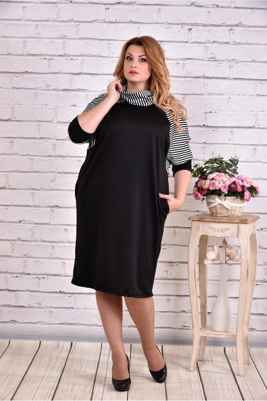 Трикотажное черное платье с полоской   0615-2