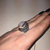 Кольцо лунный камень адуляр в серебре кольцо с лунным камнем 18,5-19 размер Индия, фото 4