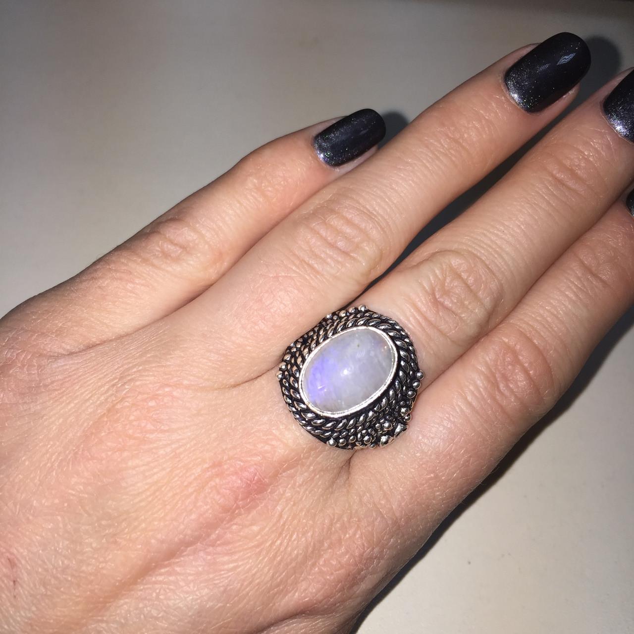 Кольцо лунный камень адуляр в серебре кольцо с лунным камнем 18,5-19 размер Индия