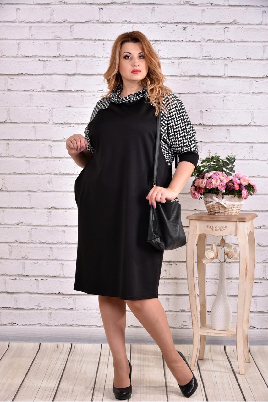 Вільне плаття чорного кольору з гусячої лапкою | 0615-3