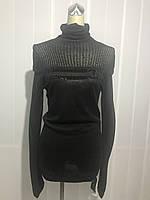 Свитер туника женский с камнями черный бренд копия, фото 1