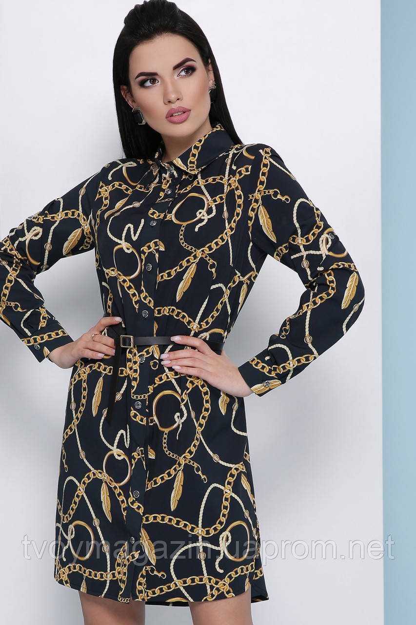 Модное черное платье-рубашка с золотыми цепями  Сучасне сукня-сорочка з ланцюгами