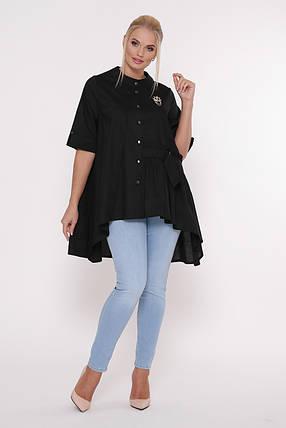 Рубашка женская Уля  черная Размеры 52, 54, 56, 58., фото 2
