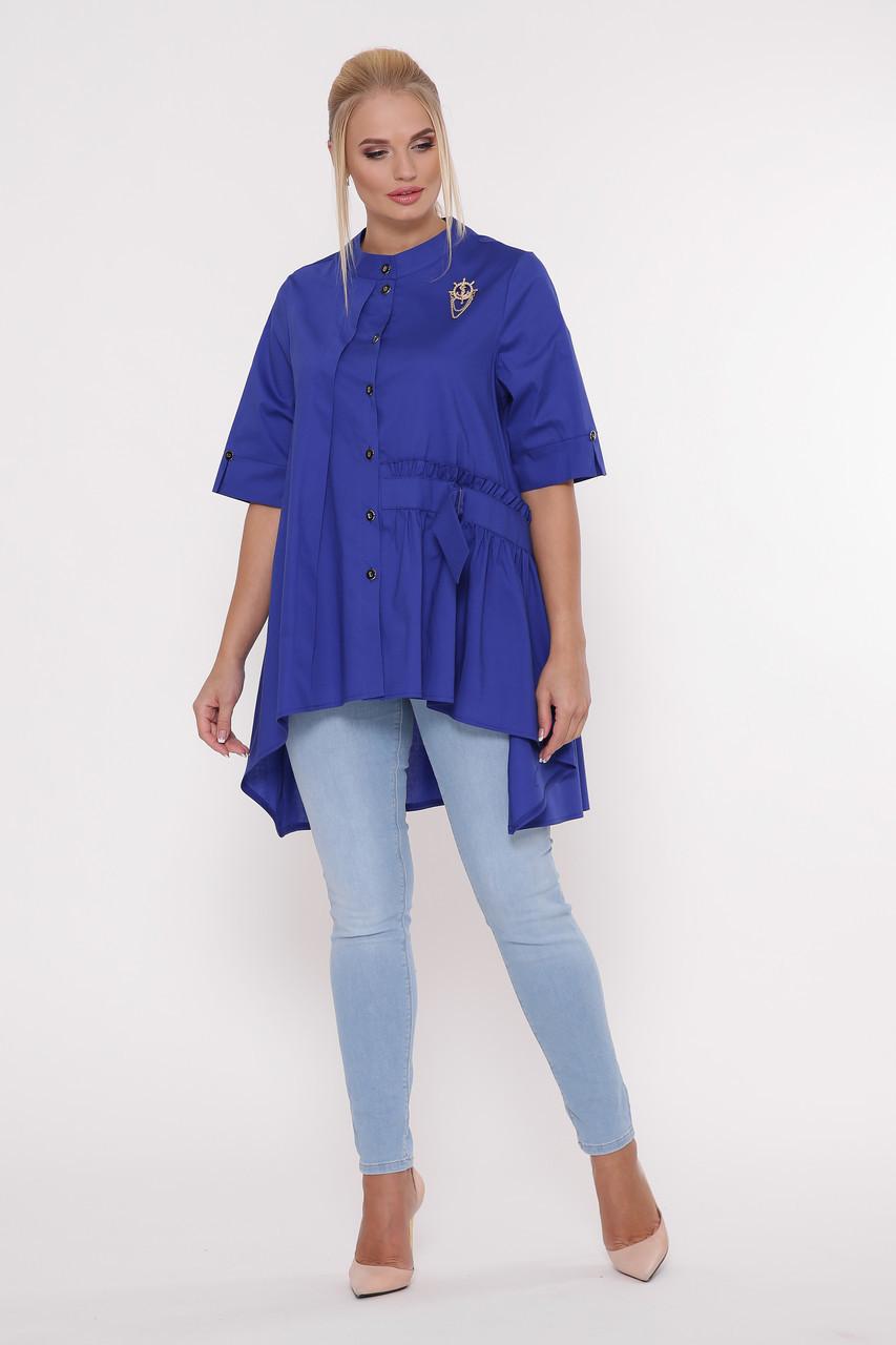 Рубашка женская Уля  электрик Размеры 52, 54, 56, 58.