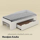 Односпальная кровать-90+1 с выдвижными ящиками для белья и бортиками, фото 5