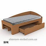 Односпальная кровать-90+1 с выдвижными ящиками для белья и бортиками, фото 7