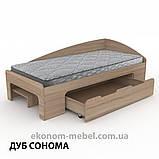 Односпальная кровать-90+1 с выдвижными ящиками для белья и бортиками, фото 8