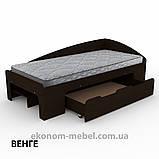 Односпальная кровать-90+1 с выдвижными ящиками для белья и бортиками, фото 4