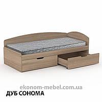 Односпальная кровать-90+2С с выдвижными ящиками для белья и бортиком, фото 1