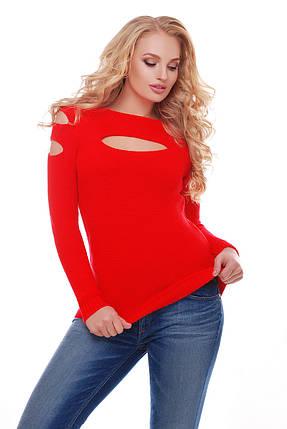 Свитер вязаный женский красный (декольте) Размер один, идет на 46, 48, 50, фото 2
