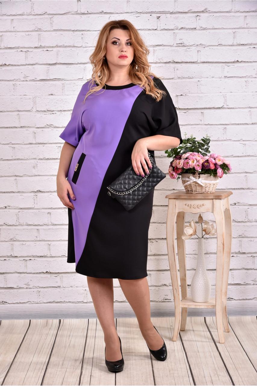 Сиреневое с черным платье, которое стройнит | 0622-1 батал