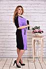 Сиреневое с черным платье, которое стройнит | 0622-1 батал, фото 2