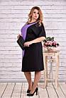 Сиреневое с черным платье, которое стройнит | 0622-1 батал, фото 3