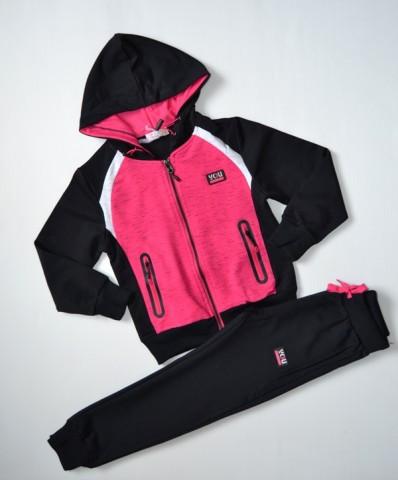 р.116 Спортивный костюм для девочки черный, розовый,спортивный детский костюм для девочки