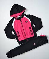 р.116 Спортивный костюм для девочки черный, розовый,спортивный детский костюм для девочки, фото 1