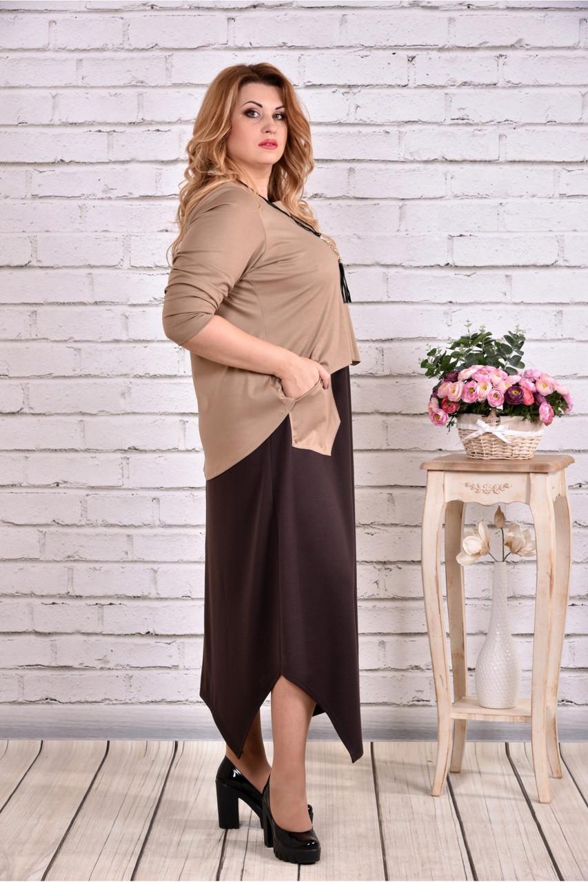 Коричневе плаття максі   0623-1