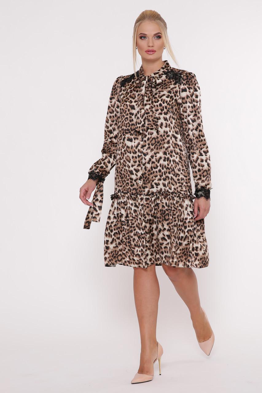 Платье с длинным рукавом Лея леопард Размеры 50, 52, 54, 56.