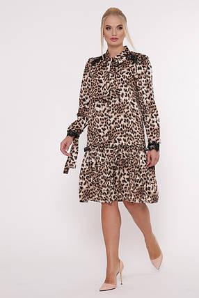 Платье с длинным рукавом Лея леопард Размеры 50, 52, 54, 56., фото 2