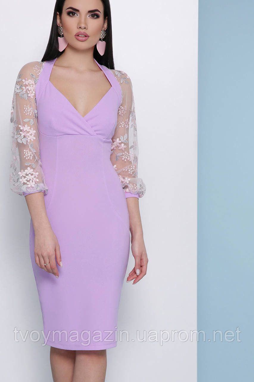 Платье миди лавандовое с красивыми ажурными рукавами Сукня міді з гарними ажурними рукавами