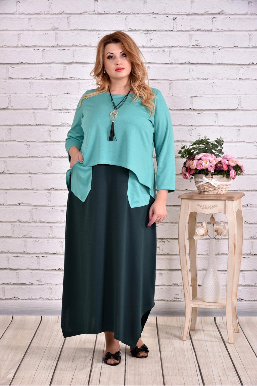 Зеленое платье макси | 0623-3 большой тразмер
