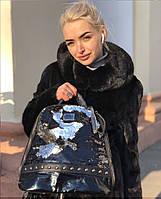 Модный черный женский рюкзак с паетками код 7-45