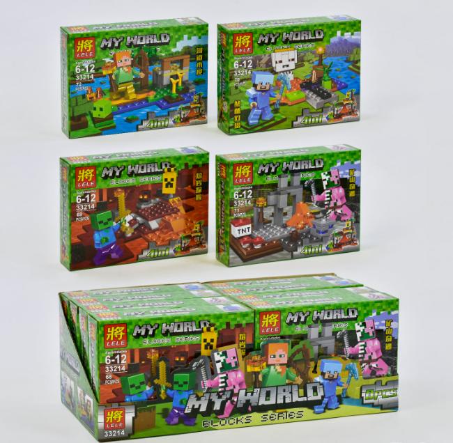 Конструктор Bela/Lele Minecraft 33214 Четыре вида (8 шт. в блоке)