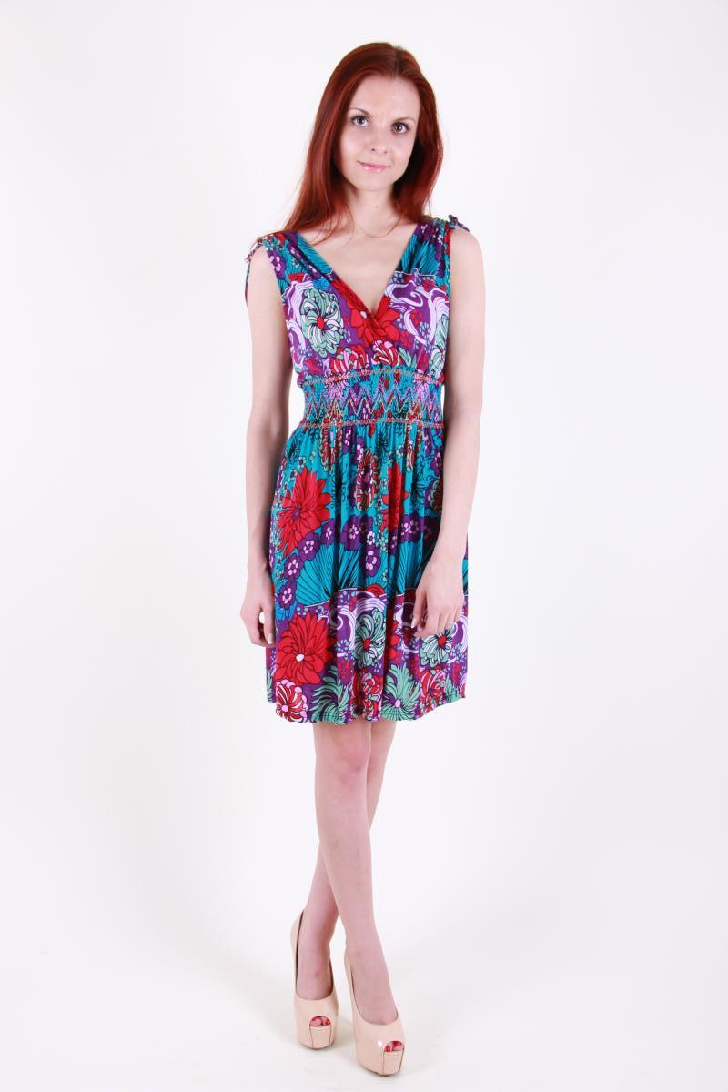 Модный сарафан с цветочным принтом ткань масло
