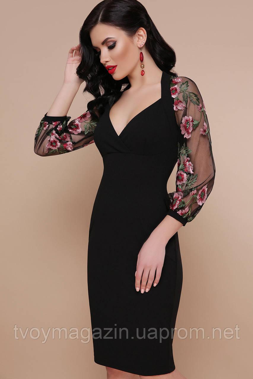 Платье миди черное с красивыми ажурными рукавами Сукня міді з гарними ажурними рукавами
