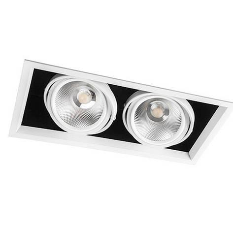 Светильник карданный светодиодный двойной 30w Feron AL212 2*COB 4000К черный в белой рамке, фото 2