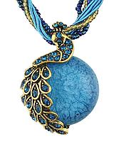 Женское голубое ожерелье Павлин код 1229