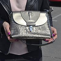 """Женская кожаная сумка с тиснением аллигатора серебристая """"Мелитта Silver"""", фото 1"""