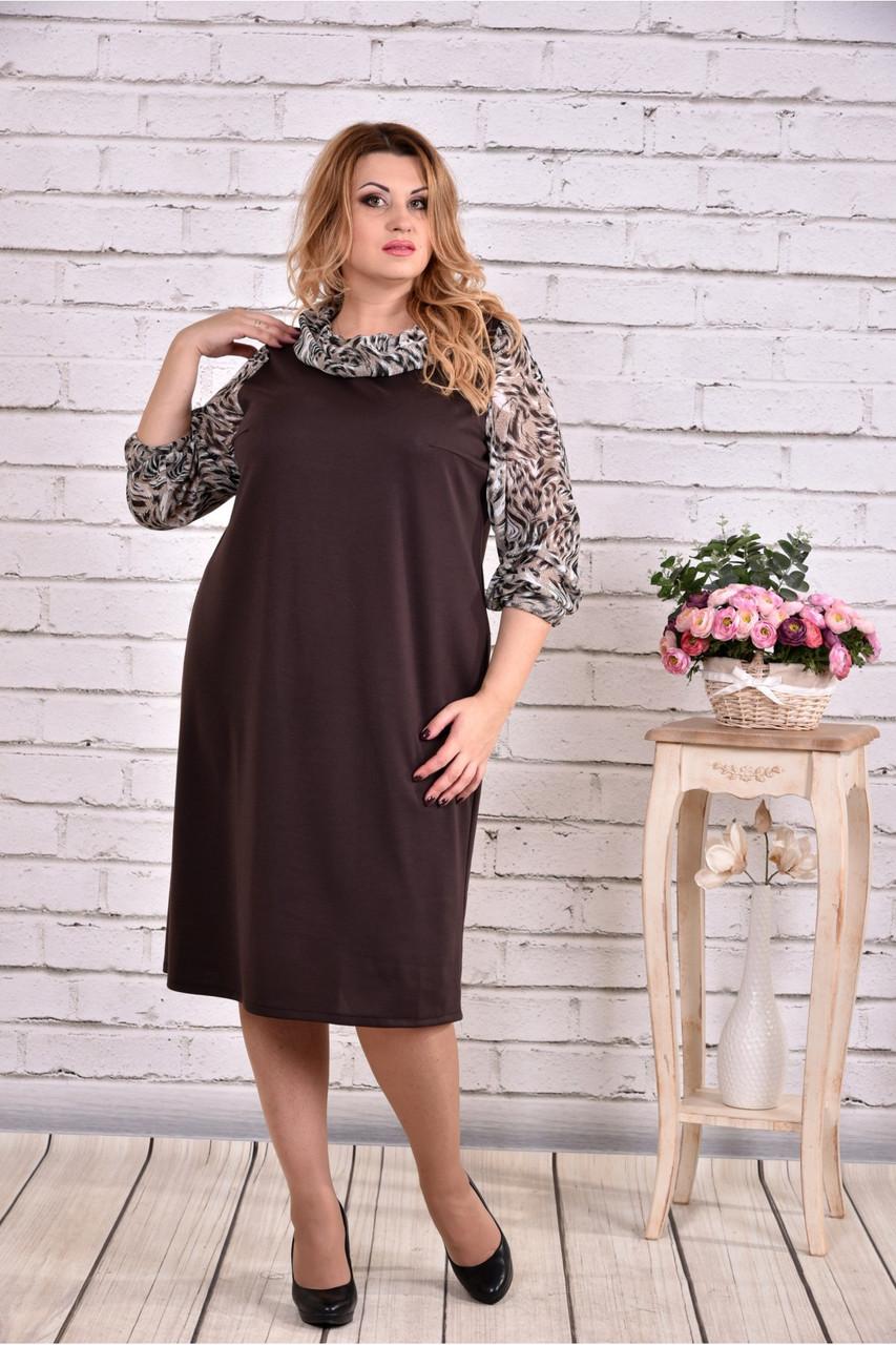 Коричневе плаття-мішок великий розмір | 0631-2