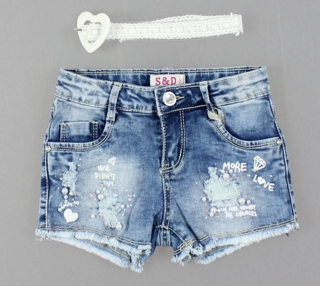 Джинсові шорти для дівчаток S&D, 4-12 років. [4 роки]