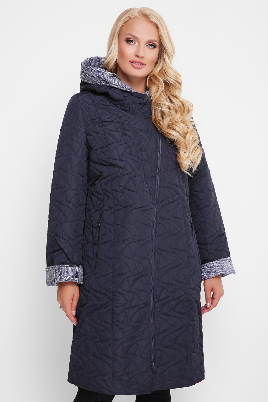 Демисезонное пальто Косуха черное Размеры 50, 52, 54, 56, 58, 60.