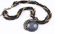 Женское серое ожерелье Павлин код 1229