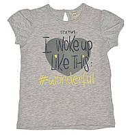 Светло-серая футболка с надписью для девочки, OVS kids, 838554