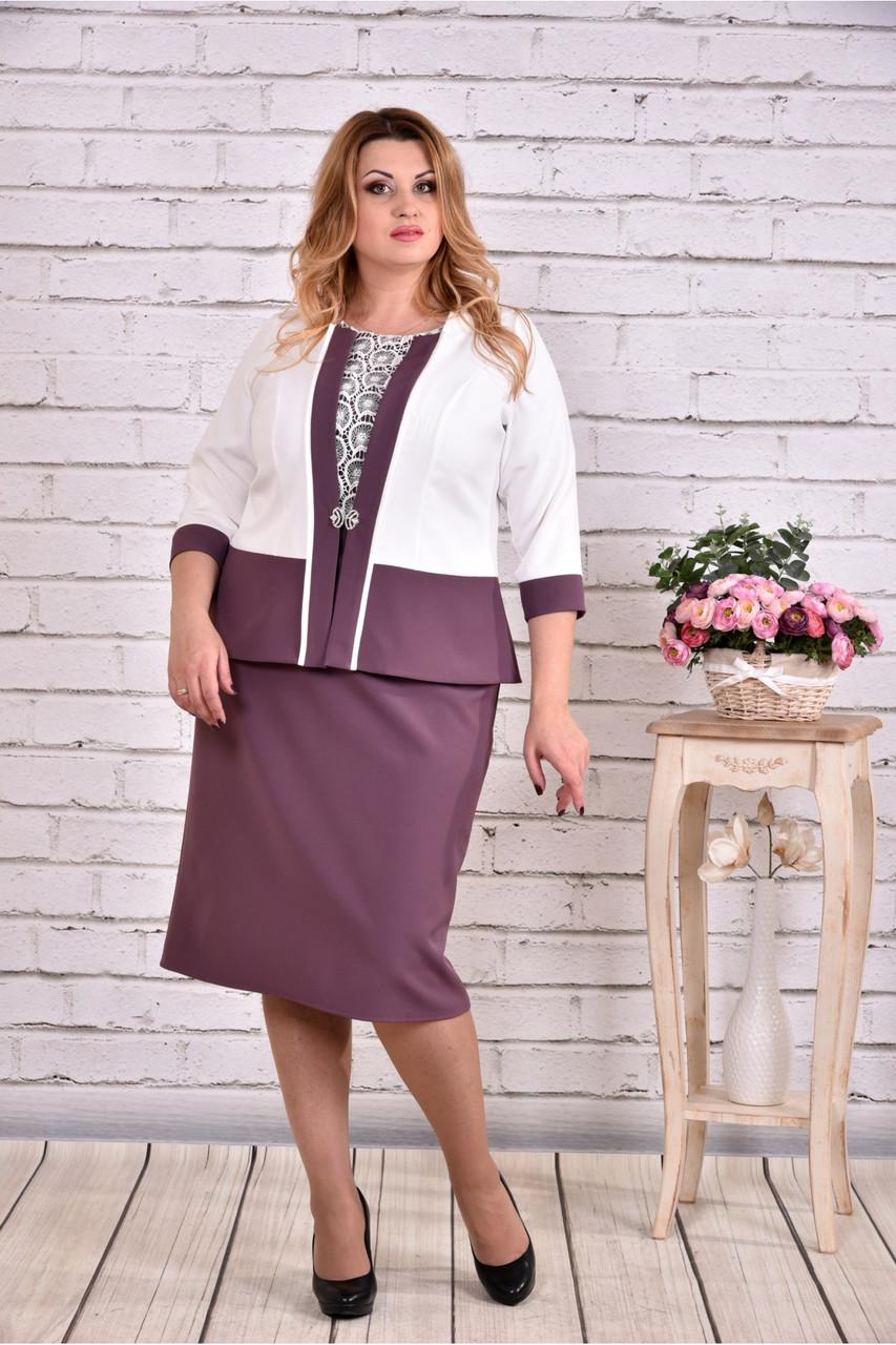 Фіолетовий костюм: плаття і жакет великого розміру 42-74.   0641-2