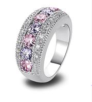 Женское кольцо с розовыми топазами, покрытое серебром код 1476