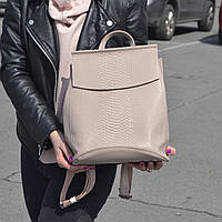 """Кожаный рюкзак-сумка (трансформер) с теснением под змеиную кожу """"Питон Light Pink"""", фото 1"""