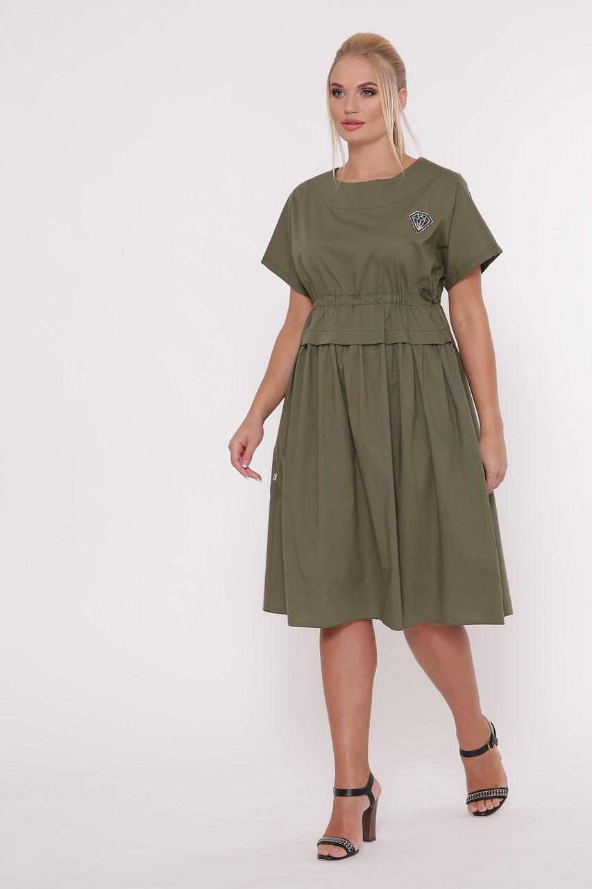 Летнее платье Мелисса оливка Размеры 50, 52, 54, 56.