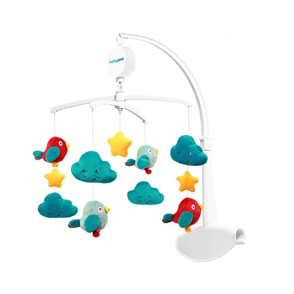 Музыкальный мобиль, карусель, мобиль,подвеска  на кроватку Облака и птицы  тм Babyono (626)